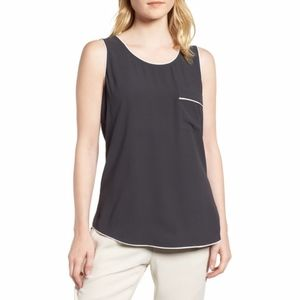 Eileen Fisher Silk Georgette Crepe Tank w/ Piping